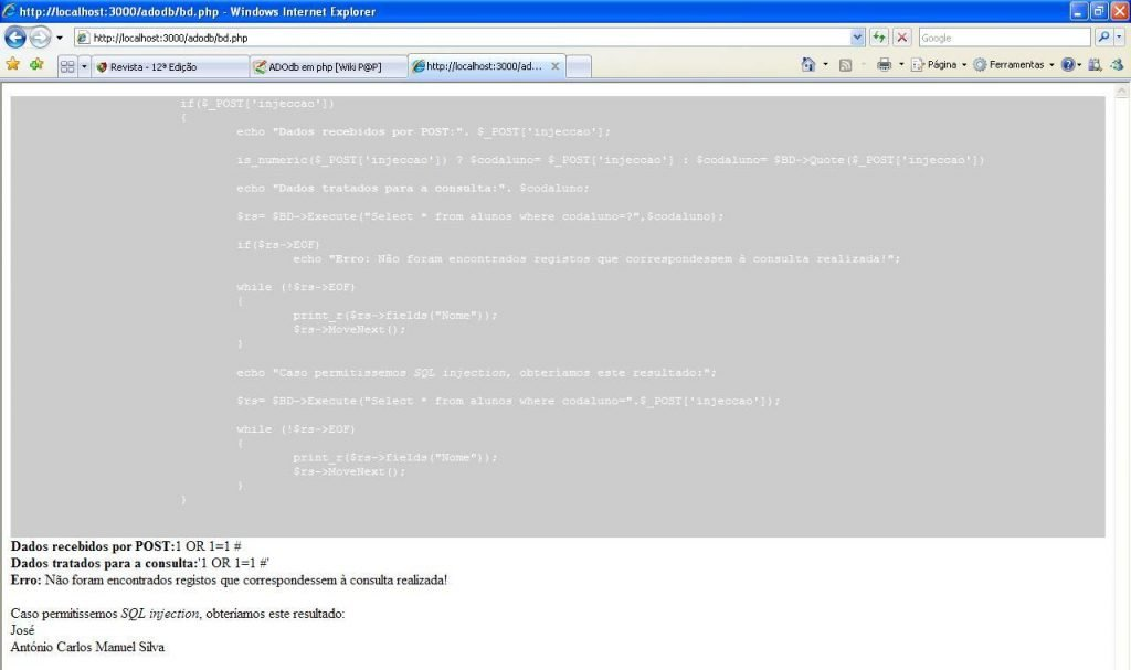 ADOdb: resultado do teste de SQL injection