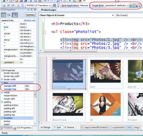 Visual Studio 2008: CSS Properties