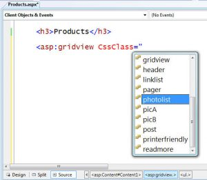 Visual Studio 2008: CSS Source View Intellisense