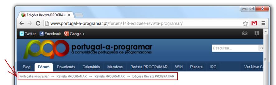 SEO: breadcrumbs no site da comunidade Portugal-a-Programar