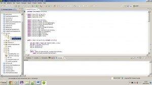 Android: ecrã inicial do IDE com código Java da aplicação