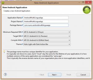 Android multi-lingua: criar projeto