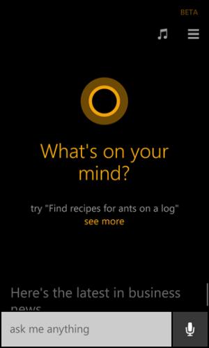 Cortana: ecrã inicial