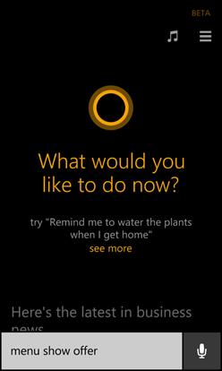 Cortana: pedido