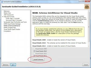 SandCastle: instalar schemas MAML