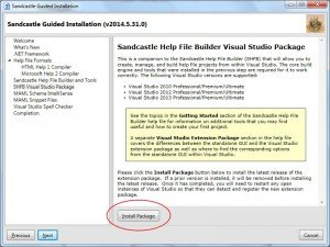 SandCastle: package para visual studio