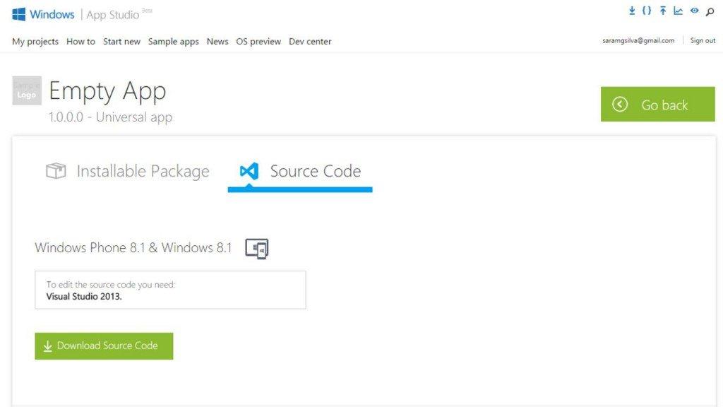 App Studio: obter código fonte