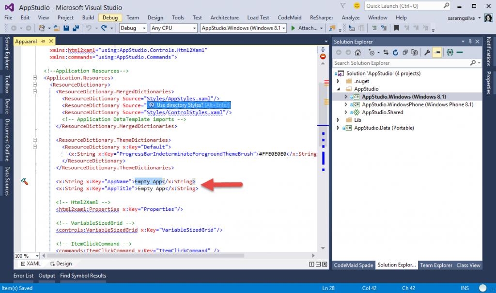App Studio: editar aplicação