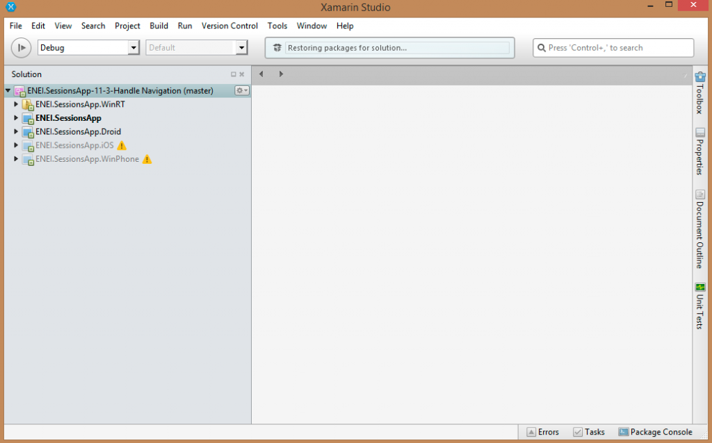 ENEI.SessionsApp Solution no Xamarin Studio para Windows