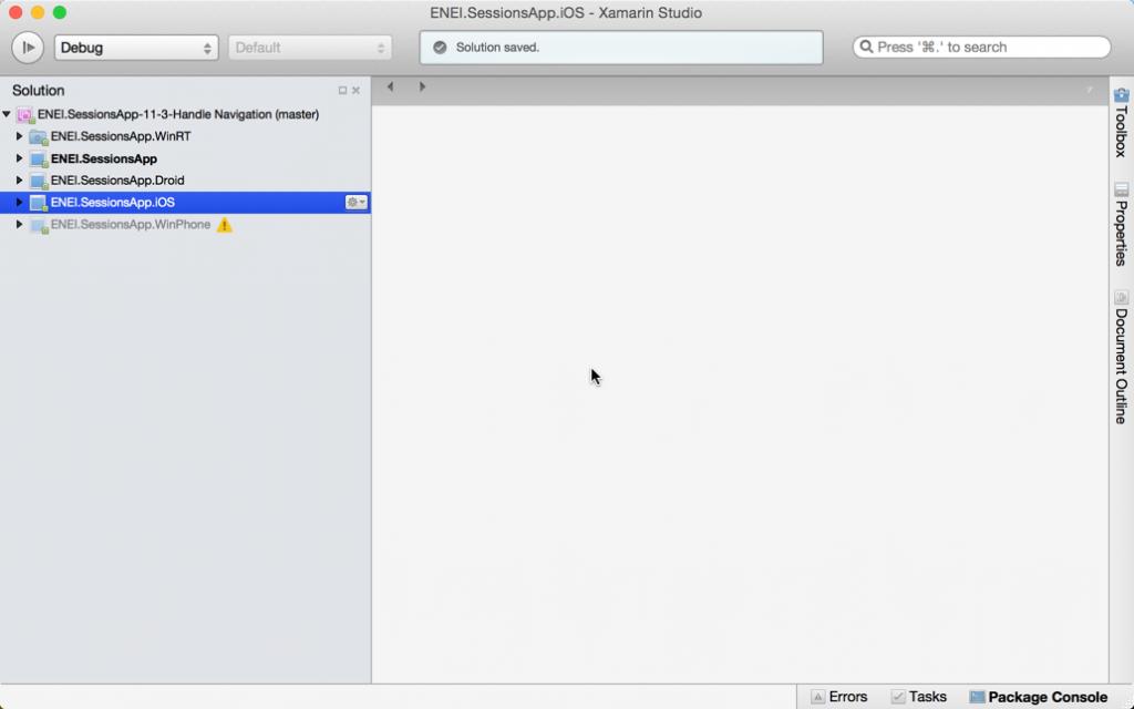 ENEI.SessionsApp no Xamarin Studio para Mac