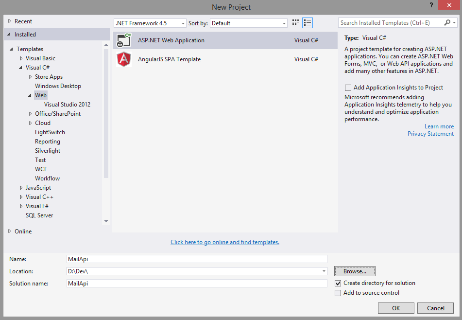 Criar ASP.NET Web Application
