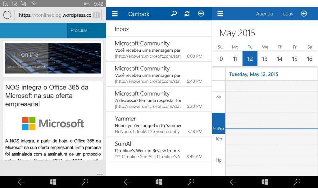Edge & Universal Apps (Outlook Mail, Calendar)
