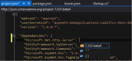 ASP.NET: IntelliSense no ficheiro project.json