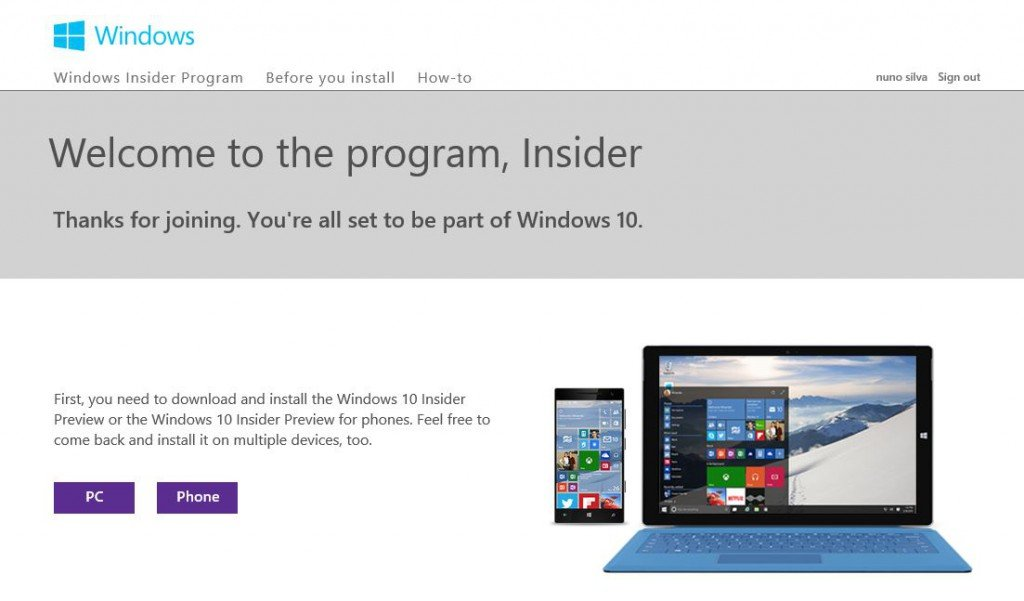 Windows Insider: obter