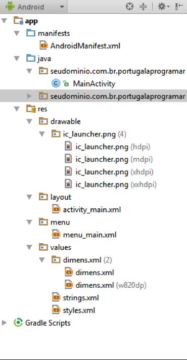 Android Studio: estrutura de directórios