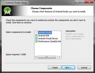 Android Studio: escolha de componentes