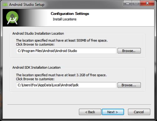 Android Studio: escolher os diretórios para instalação