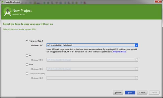 Android Studio: Selecionar as APIs de desenvolvimento