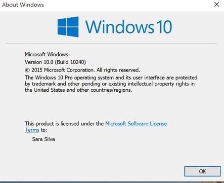 Versão do Windows 10