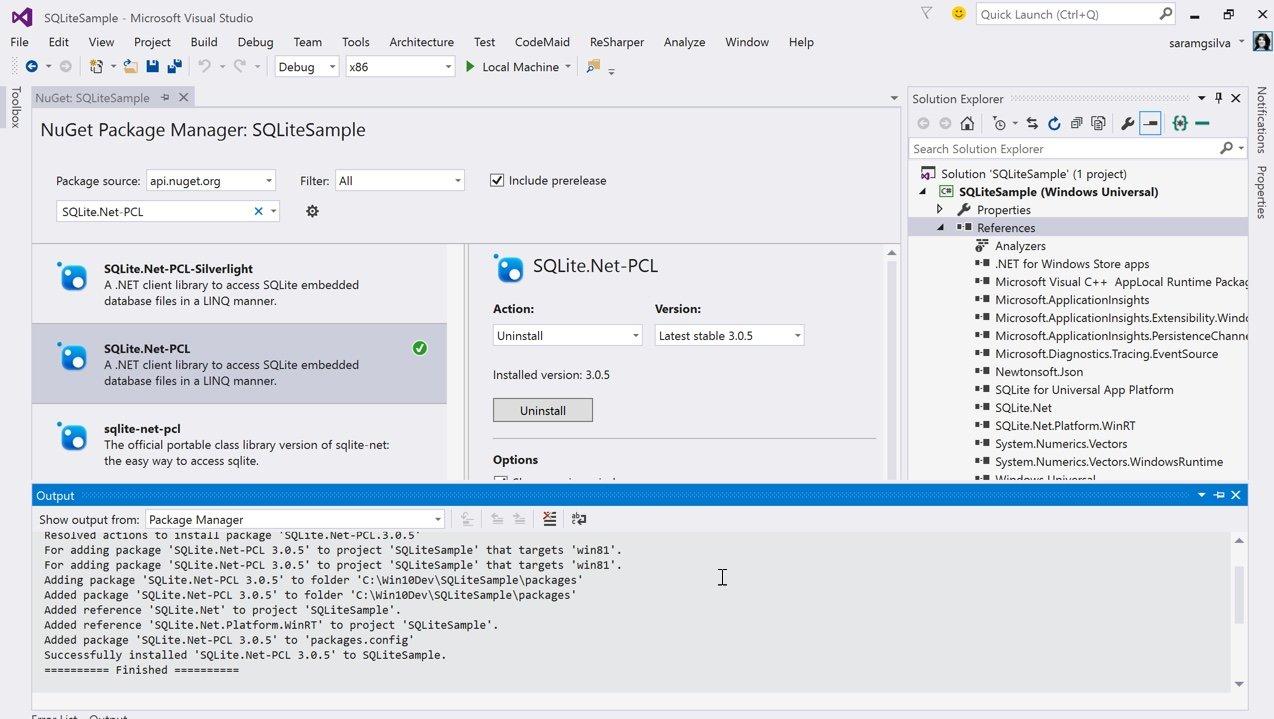 Instalação do NuGet SQLite.Net-PCL