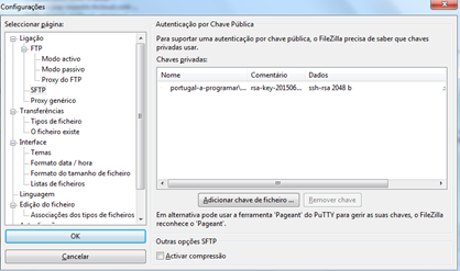 FileZilla: chaves