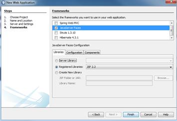NetBeans: escolha de frameworks