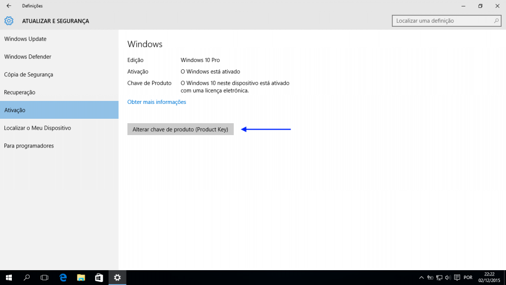 Windows 10: alteração da chave de produto