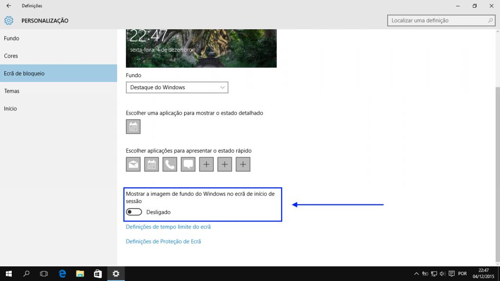 Windows 10: ecrã de login