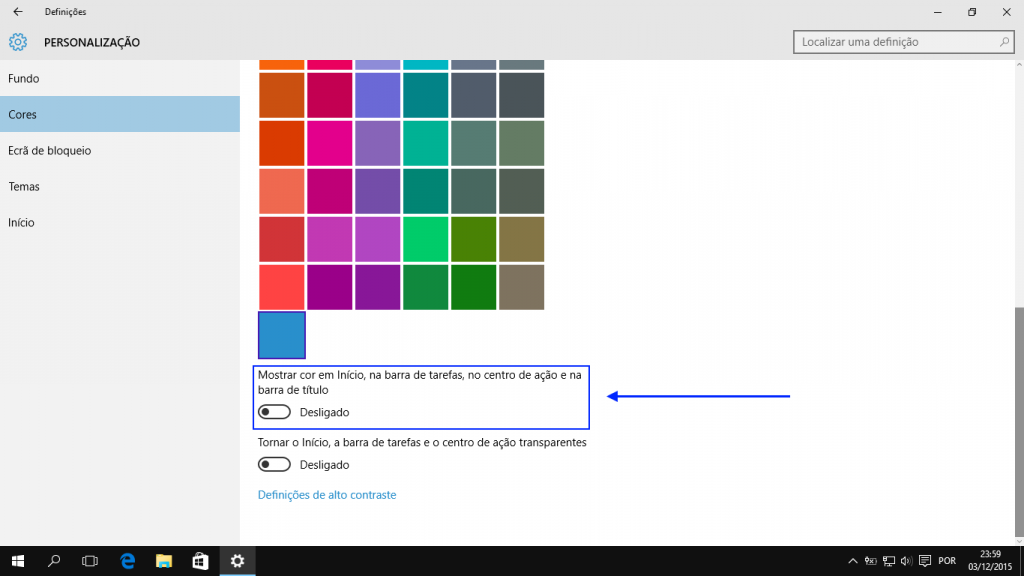 Windows 10: esquema de cores