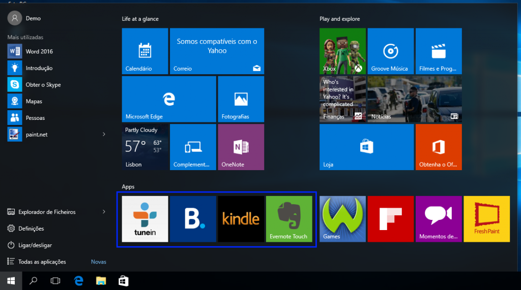 Windows 10: menu iniciar