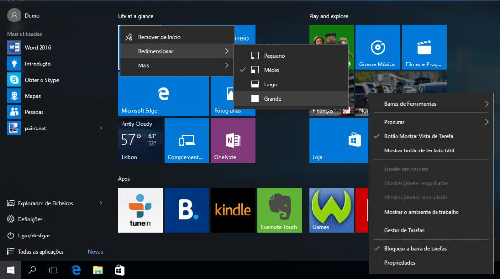 Windows 10: menus de contexto