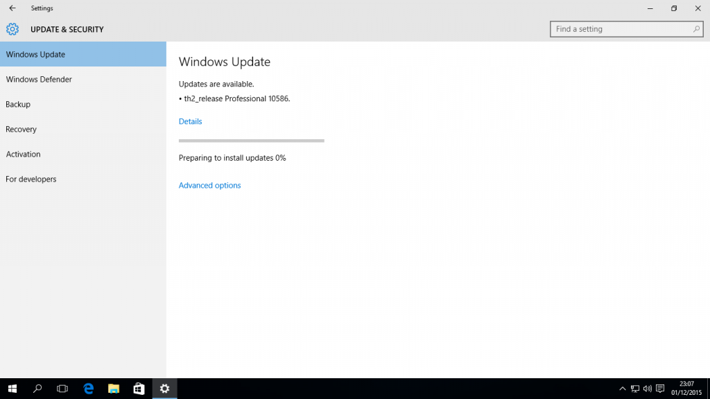 Windows 10: windows update