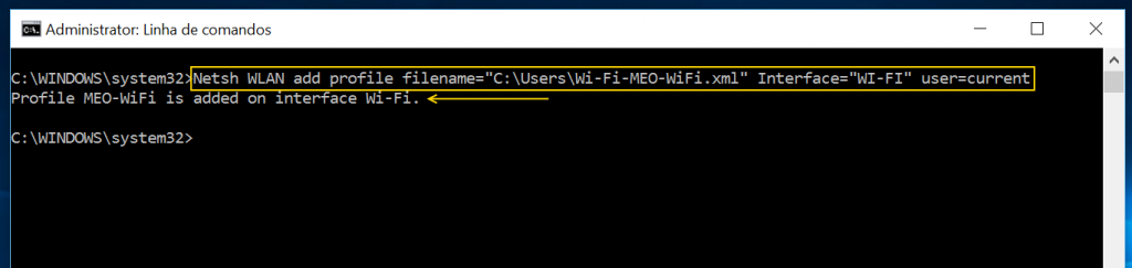 Netsh WLAN add profile filename caminho ficheiro xml Interface nome do interface user current
