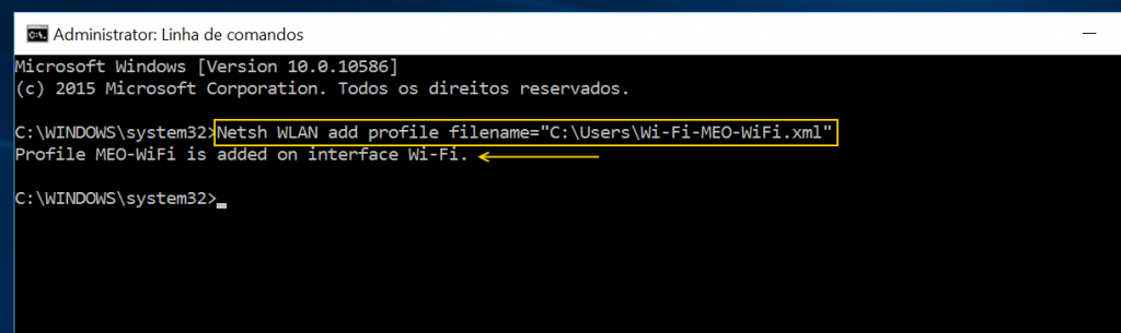 Netsh WLAN add profile filenamecaminho ficheiro XML
