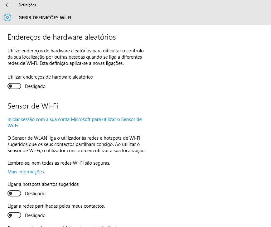 Windows 10: App Definições - Wi-Fi