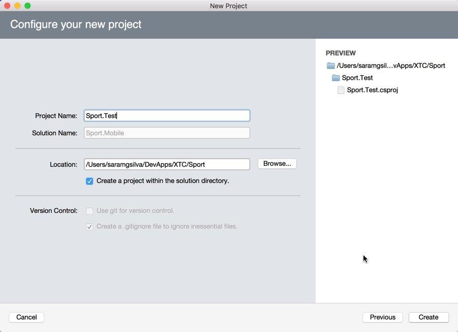 Xamarin Test Cloud: definição do nome do projeto