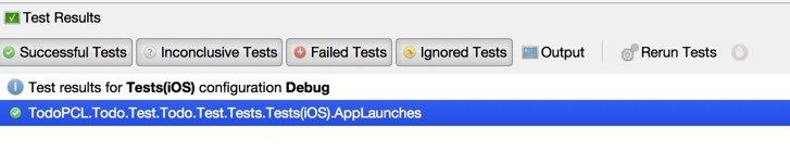 Xamarin Test Cloud: resultado da execução dos testes