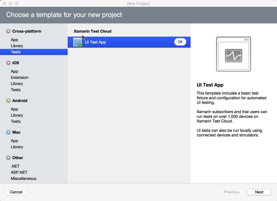 Xamarin Test Cloud: seleção do projeto