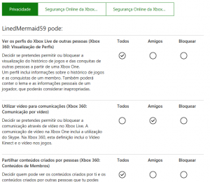 Definições Privacidade Xbox