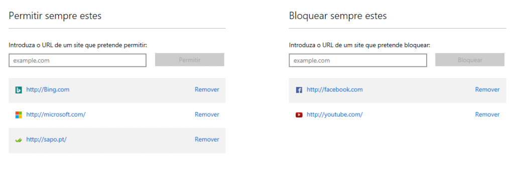 Bloqueio sites