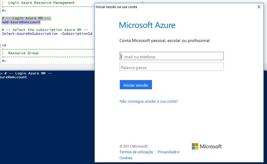 Azure com PowerShell: cmdlet Add-AzureRmAccount