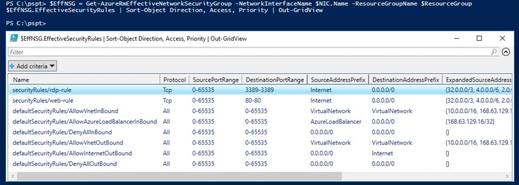 Azure com PowerShell: cmdlet Get-AzureRmEffectiveNetworkSecurityGroup
