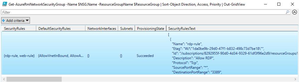 Azure com PowerShell: cmdlet Get-AzureRmNetworkSecurityGroup com Out-GridVew