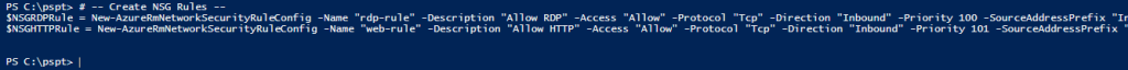 Azure com PowerShell: cmdlet New-AzureRmNetworkSecurityRuleConfig