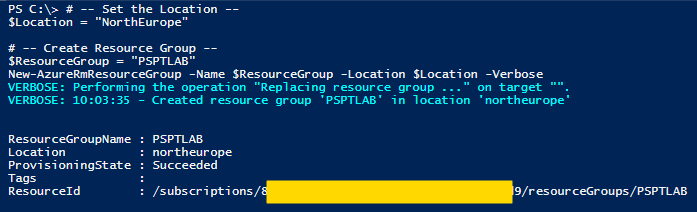 Azure com PowerShell: cmdlet New-AzureRmResourceGroup