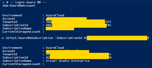 Azure com PowerShell: cmdlet Select-AzureRmSubscription -SubscriptionId