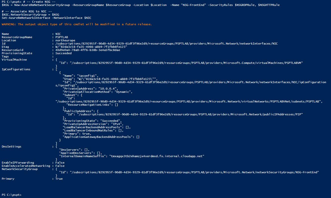 Azure com PowerShell: cmdlets New-AzureRmNetworkSecurityGroup e Set-AzureRmNetworkInterface