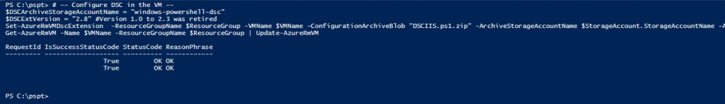 Azure com PowerShell: Set-AzureRmVMDscExtension