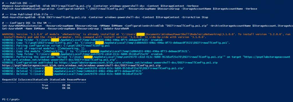 Azure com PowerShell: Execução do DSC para firewall da máquina virtual