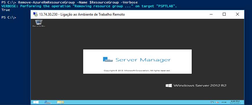 Azure com PowerShell: Execução do Start-Process